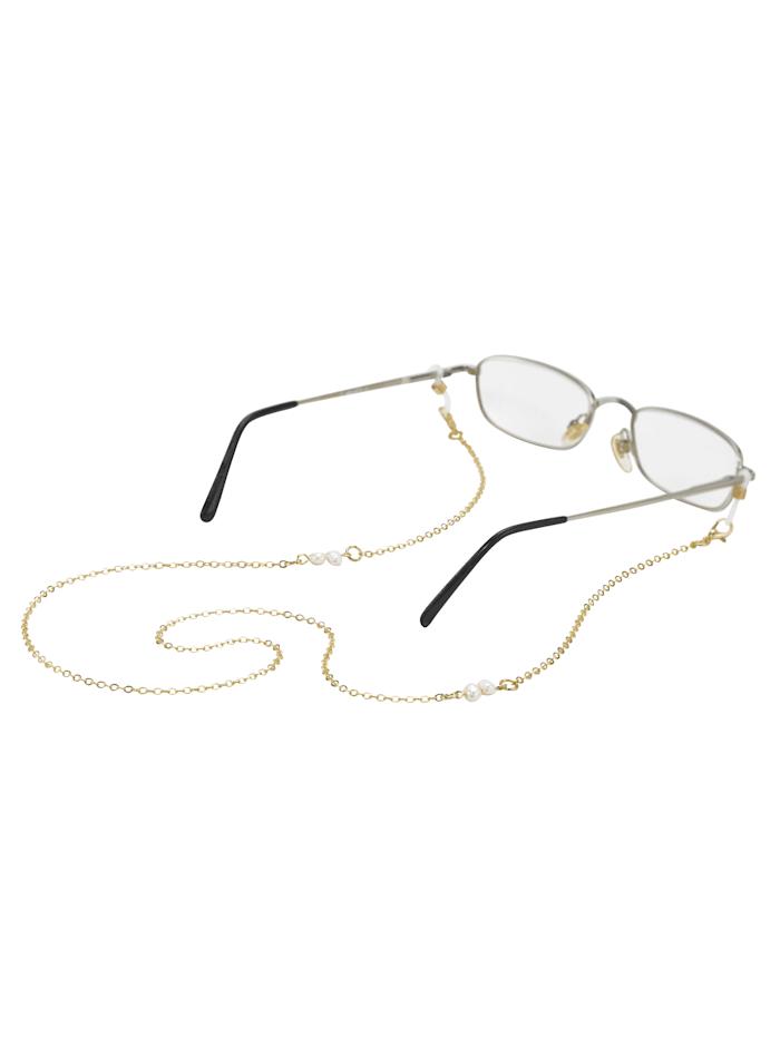 Chaîne pour lunettes avec véritables perles de culture d'eau douce, Coloris or