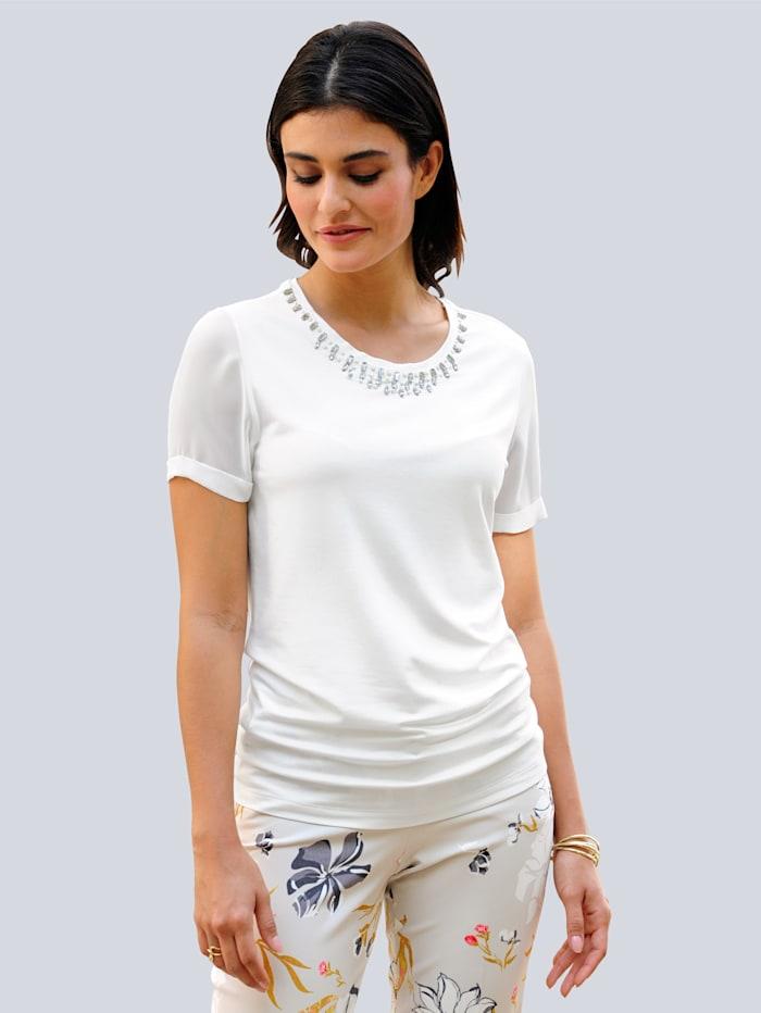 Alba Moda Shirt mit Schmucksteinchen am Rundhalsausschnitt, Off-white