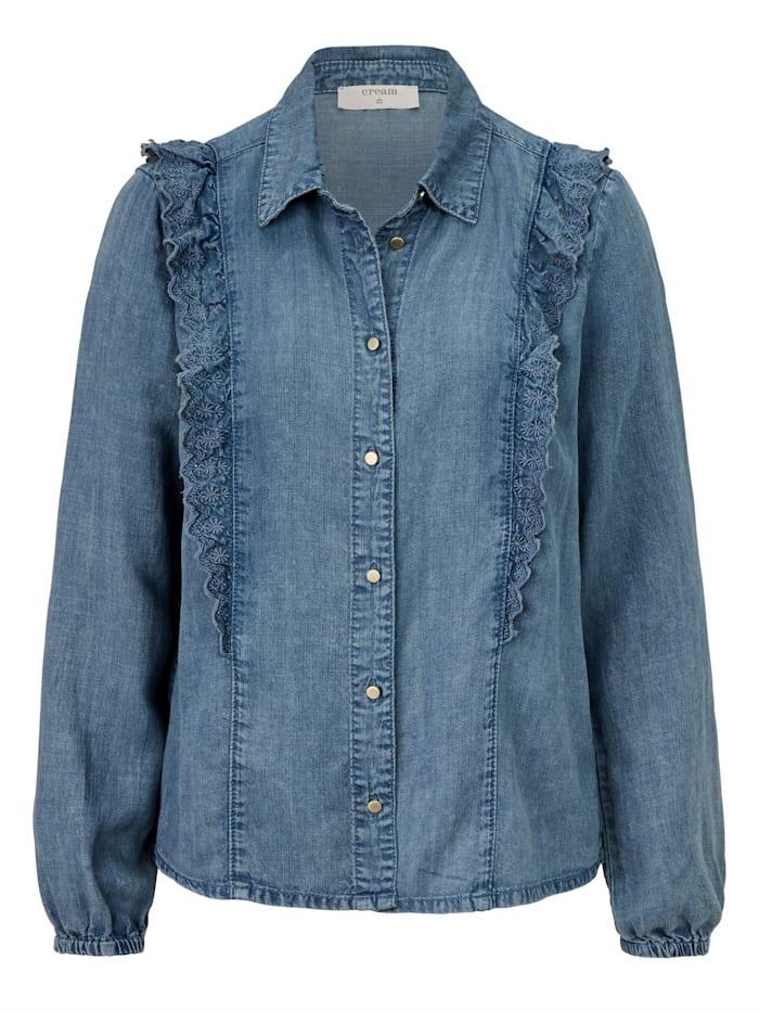 Cream Jeansbluse mit Rüschen, Jeansblau