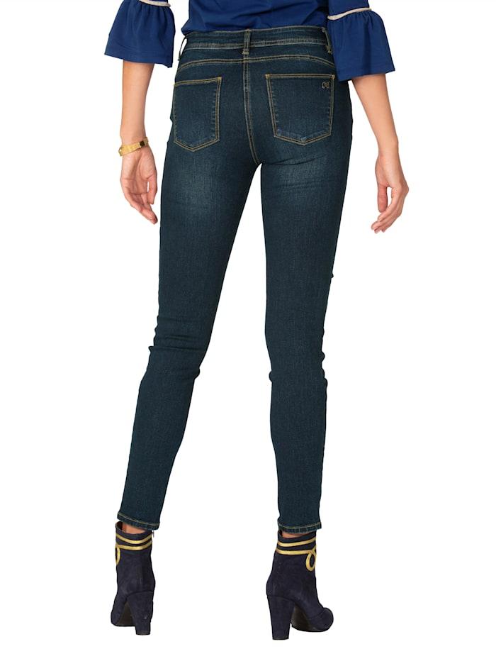 Jeans met bloemenborduursel en pailletten