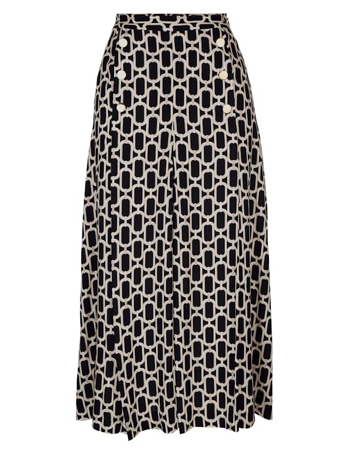 Alba Moda Rok met kettingdessin rondom, Zwart/Beige/Offwhite