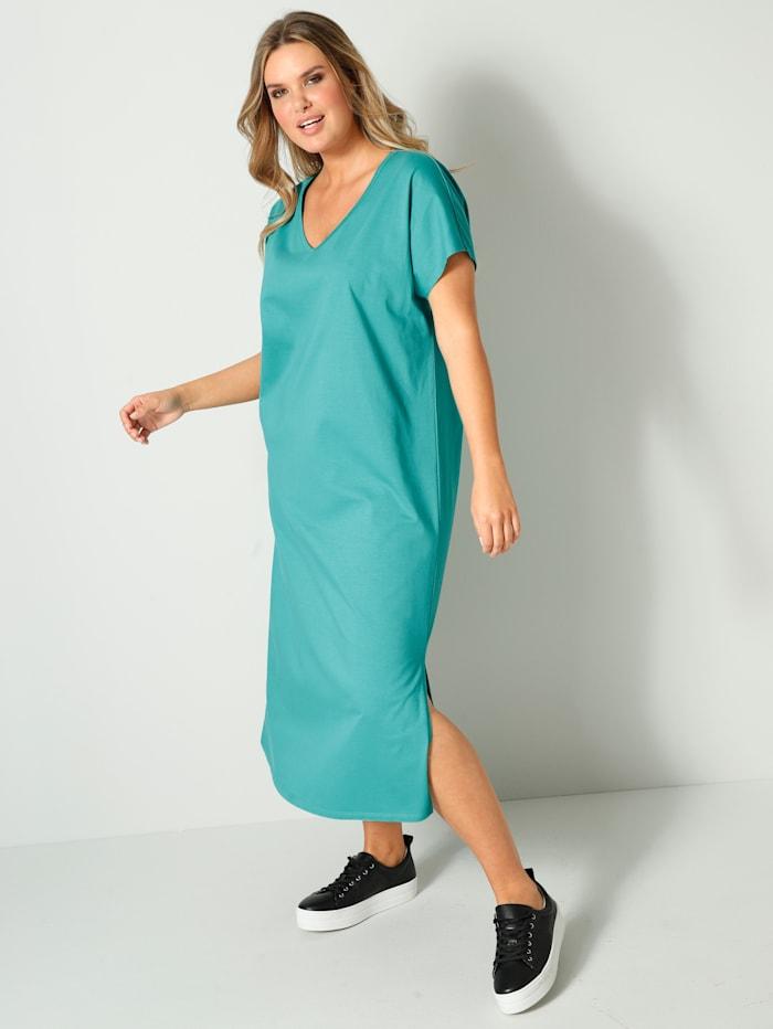 Janet & Joyce Jerseyklänning av 100% bomull, Turkos