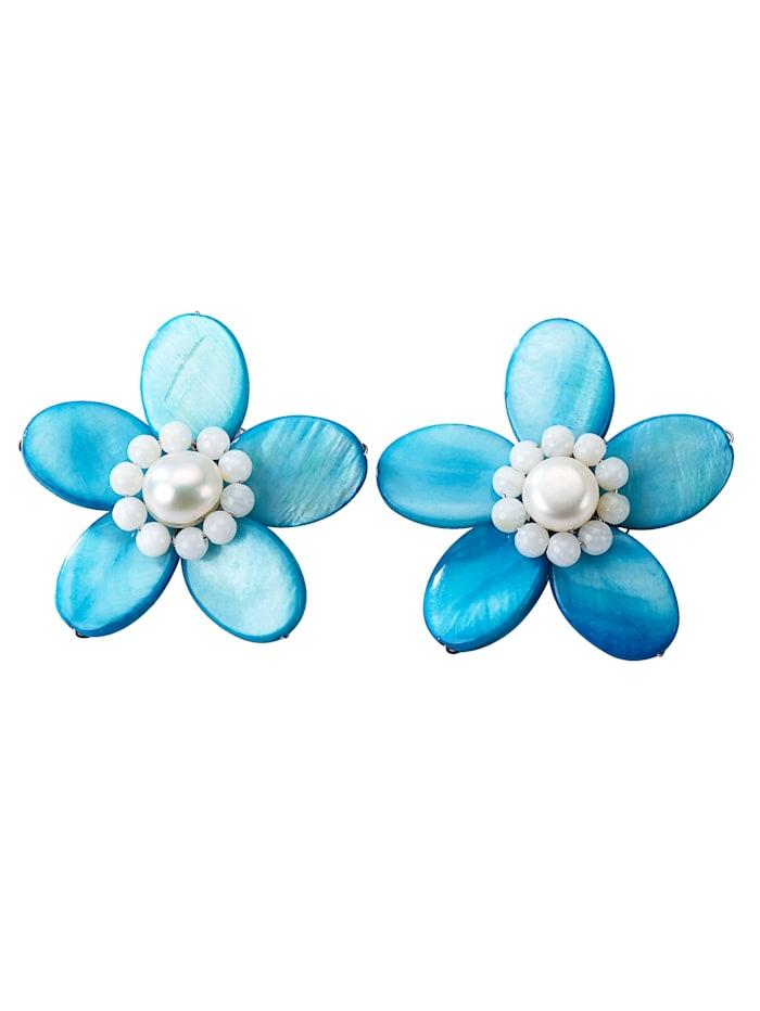 Blumen-Ohrclips, Türkis