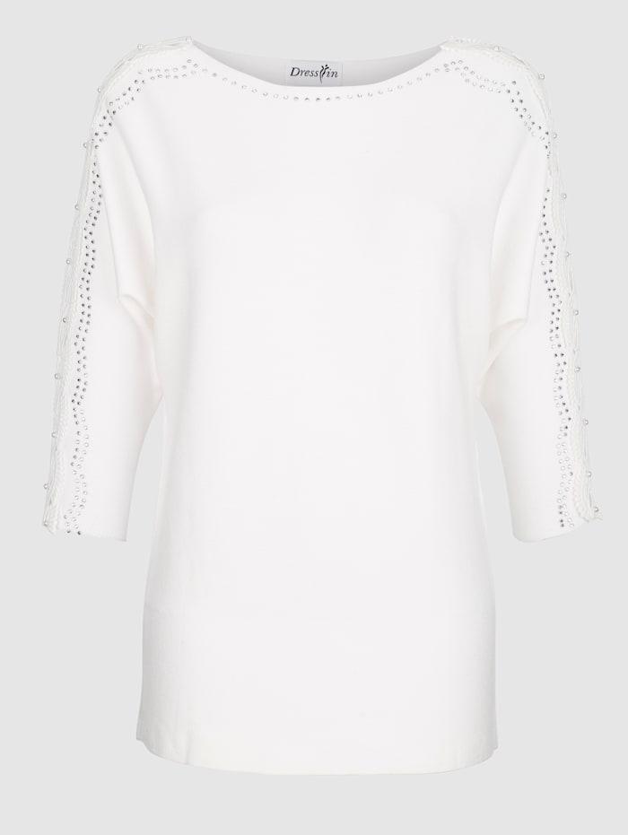 Dress In Pulóver so sklenenými kamienkami a perličkami, Biela