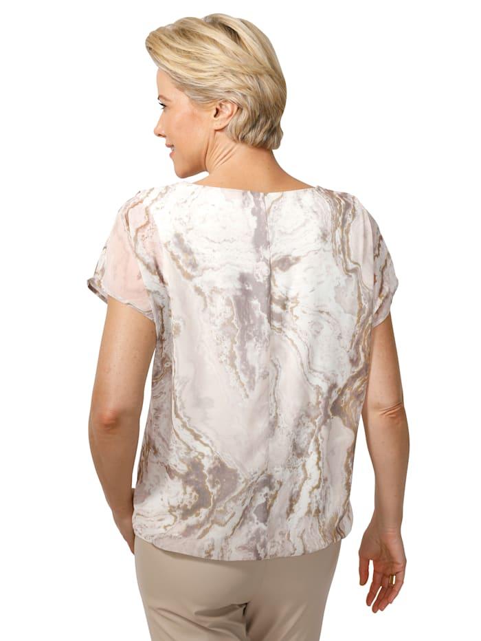 Blouse met trendy marmerprint