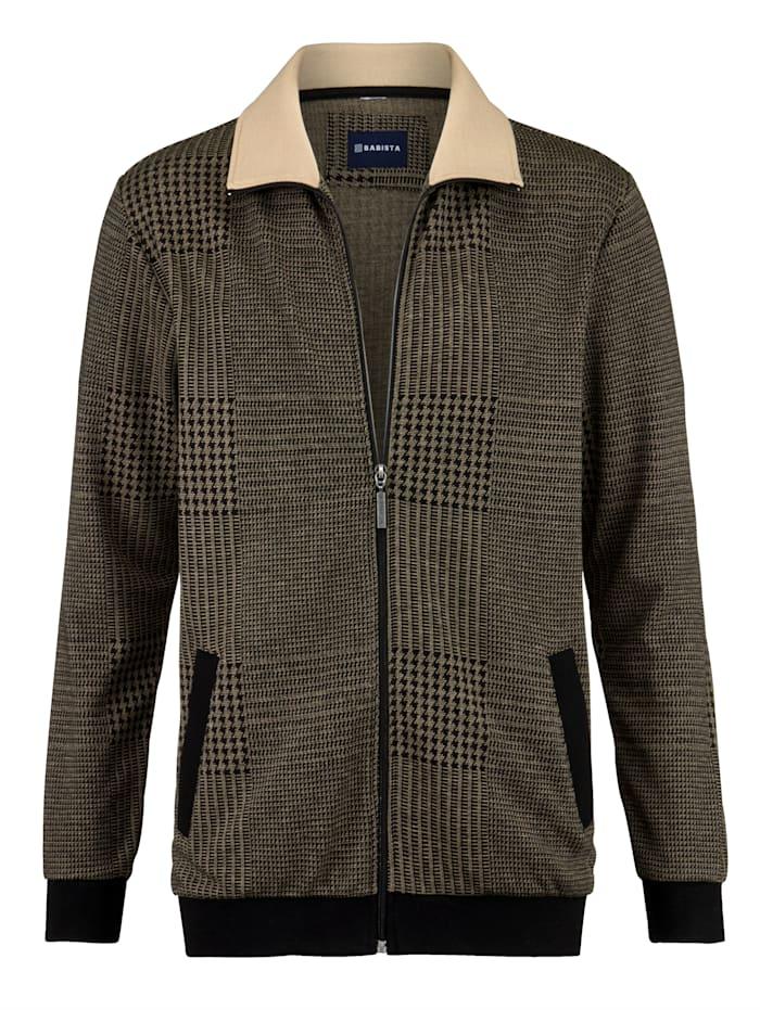 BABISTA Sweatshirtjacka med garnfärgat mönster, Svart/Beige