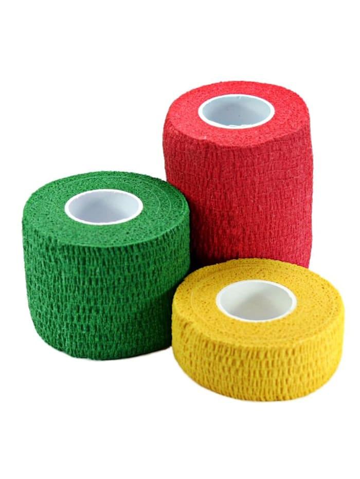 Maximex Elastische katoenen tape, groen, rood, geel