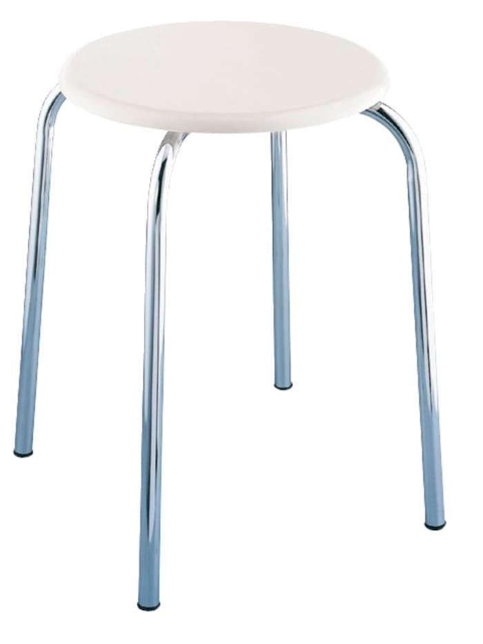 Wenko Exclusiv Badhocker, mit weißer MDF-Sitzfläche, Sitzfläche: Weiß, Gestell: Chrom