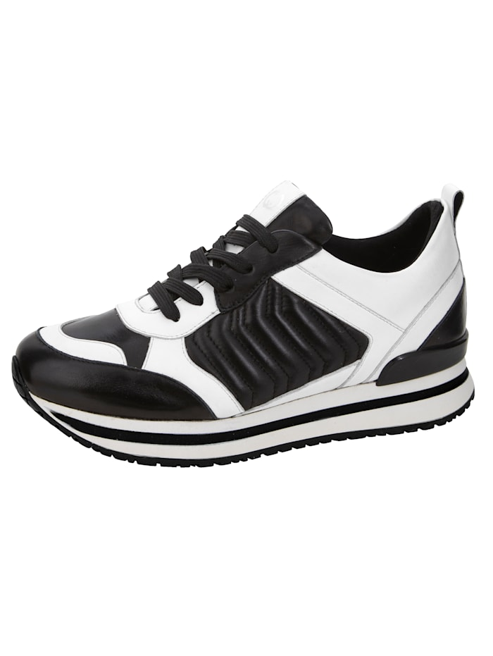 Gerry Weber Sneaker van zacht nappaleer, Zwart/Wit