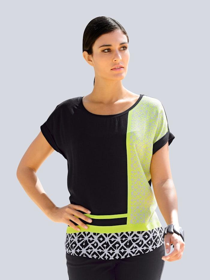 Alba Moda Shirt im exklusivem Alba Moda Print, Schwarz/Limettengrün/Sand