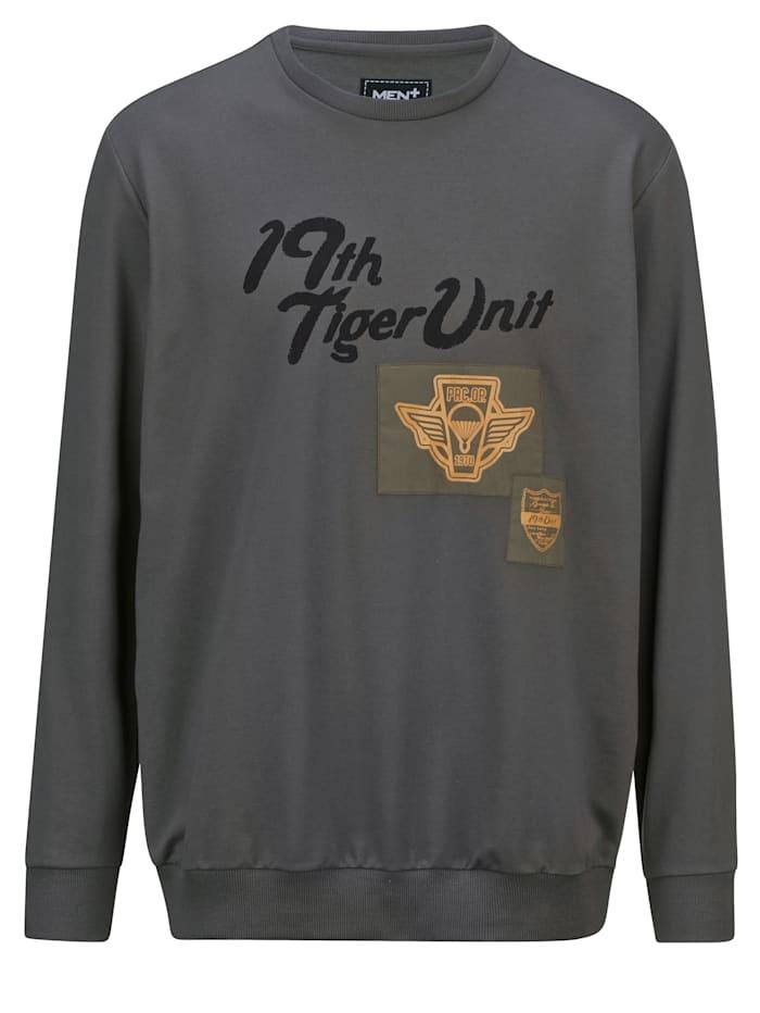 Men Plus Sweatshirt met print, Donkergrijs