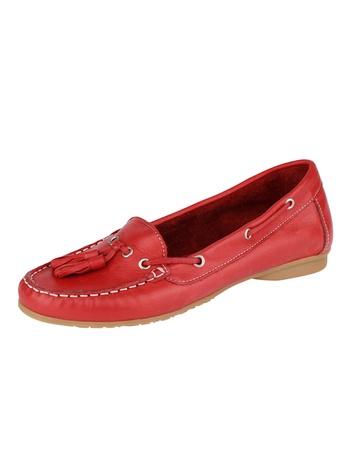 Liva Loop Moccasins made from leather, Red