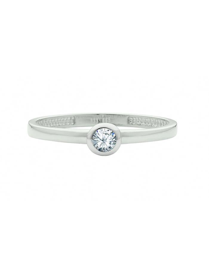 1001 Diamonds Damen Goldschmuck 333 Weißgold Ring mit Zirkonia, silber