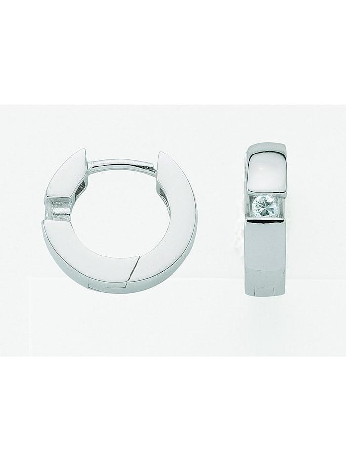 1001 Diamonds Damen Silberschmuck 925 Silber Ohrringe / Creolen mit Zirkonia Ø 13,3 mm, silber