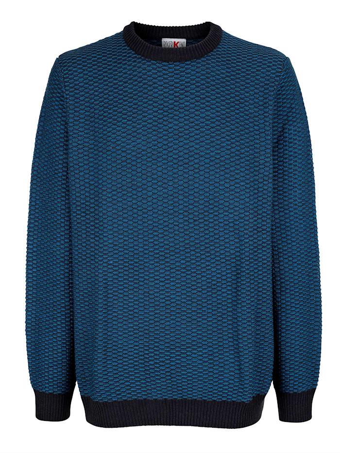 Roger Kent Trui met breipatroon rondom, Marine/Royal blue