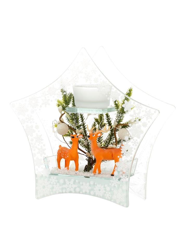 LED Deko Glas Teelichthalter, Weiß