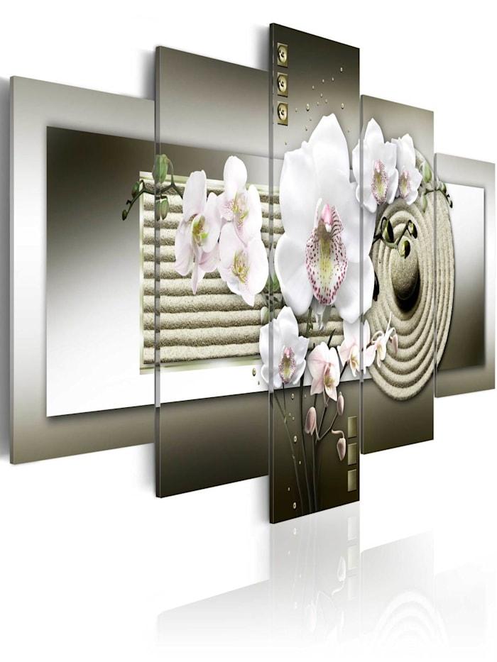 artgeist Wandbild Orchid and zen garden in grey, Creme,Grau,Weiß