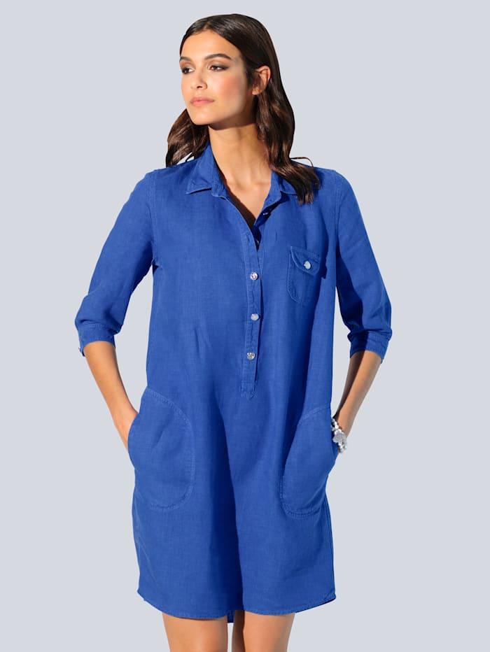Alba Moda Kleid aus hochwertiger, reiner Leinenqualität, Royalblau