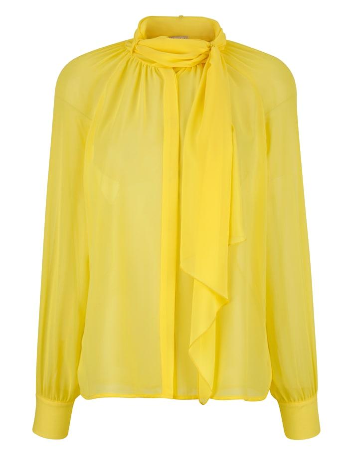 Alba Moda Bluse mit großer Schluppe, Gelb