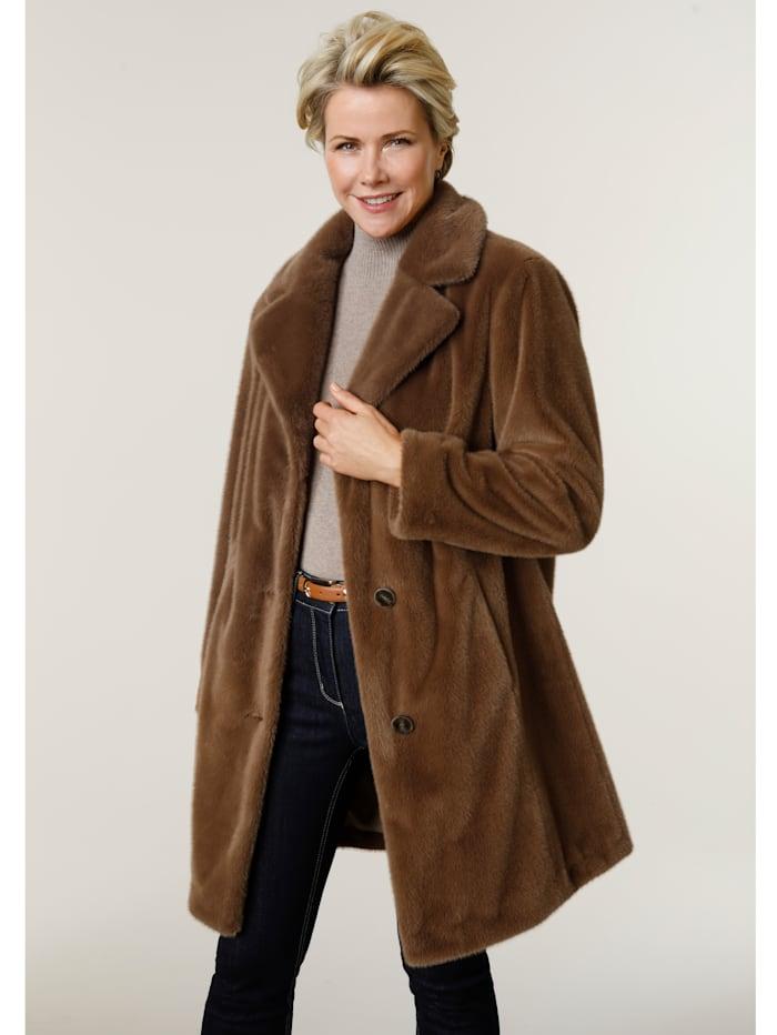 MONA Faux fur jacket, Cognac