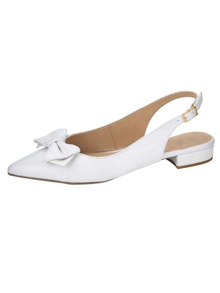 Slingback shoes with bow embellishment, White