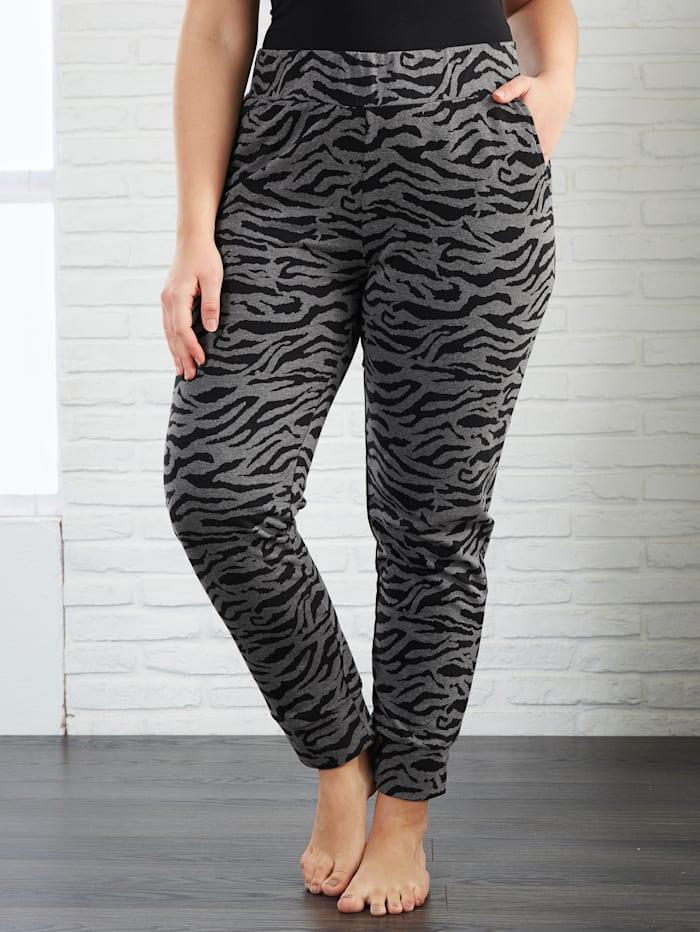 Janet & Joyce Jersey broek met animalprint, Antraciet/Zwart