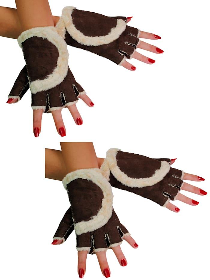 Simone Erto Handschuhe 2 Paar A3367 2 Paar fingerlose Handschuhe - besonders kuschelig, braun
