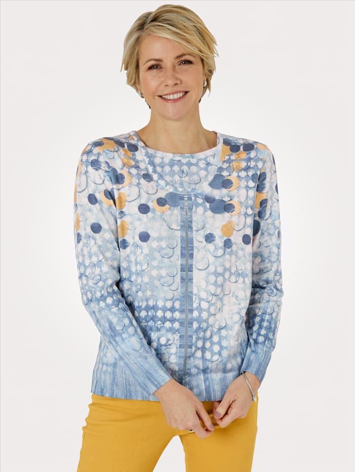 DiStrick Pullover in Twinset-Optik, Blau/Gelb