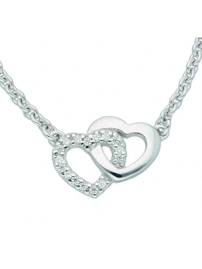 1001 Diamonds Damen Silberschmuck 925 Silber Anhänger mit Zirkonia 45 cm Ø 1,8 mm, silber