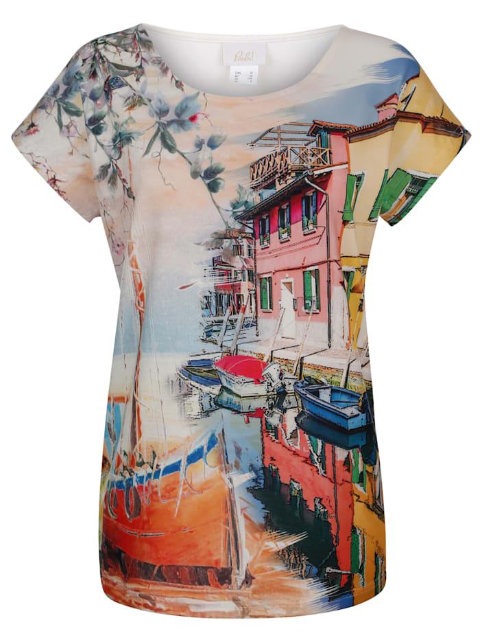 T-shirt à motif imprimé multicolore