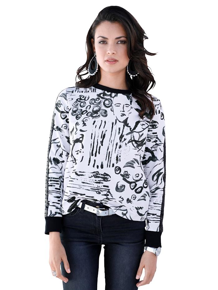 AMY VERMONT Sweatshirt mit modischem Druck, Weiß/Schwarz