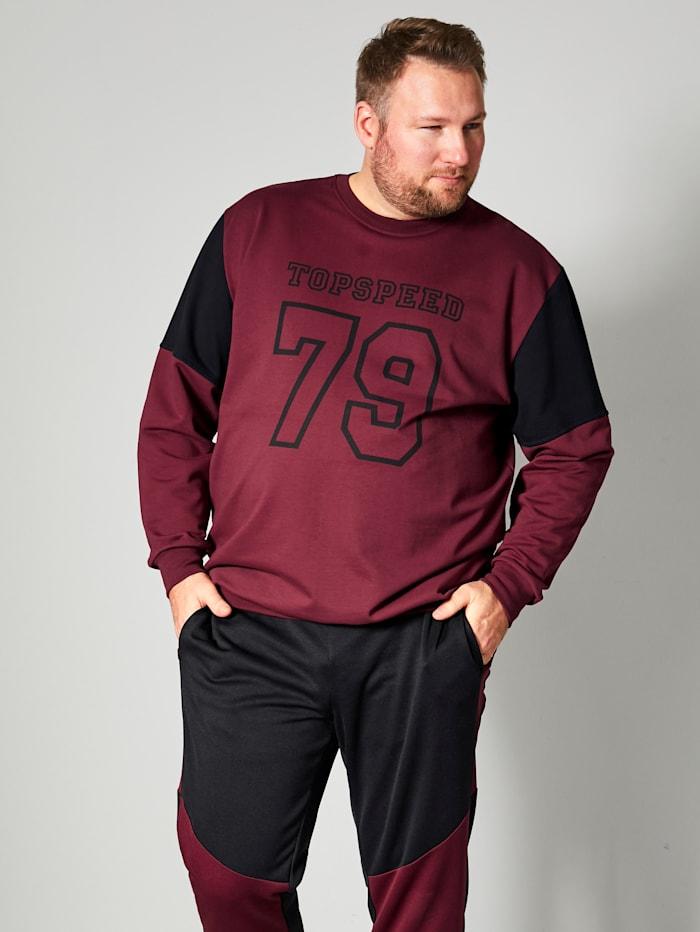 Men Plus Sweatshirt Spezialschnitt, Bordeaux/Schwarz