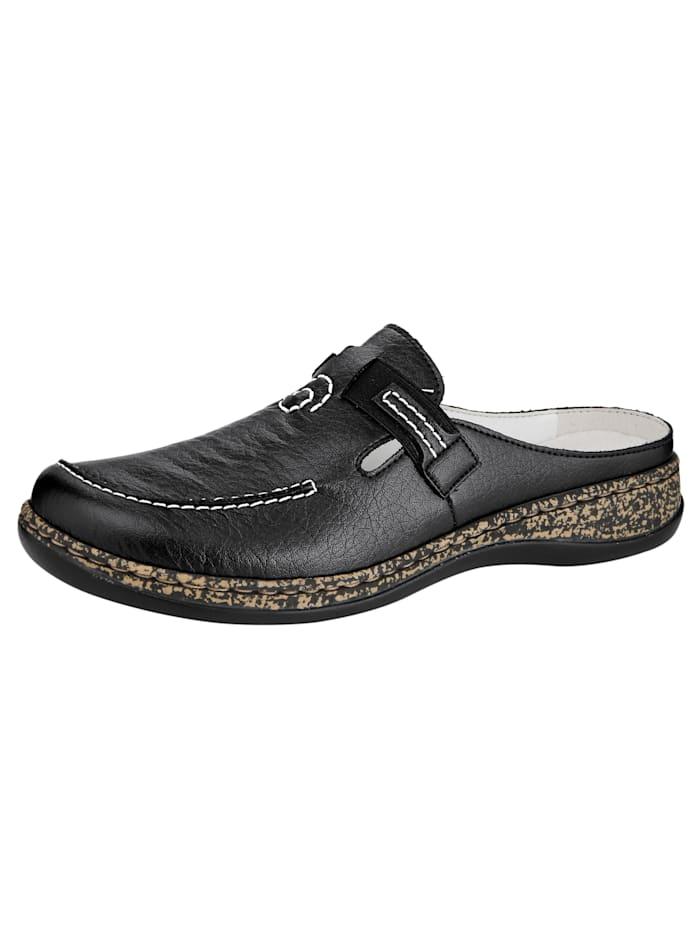 Rieker Clogs with beautiful decorative stitching, Black