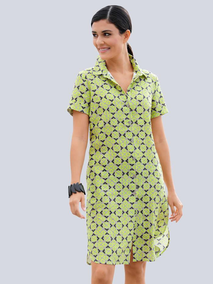 Alba Moda Kleid im neu desginten Druckdessin allover, Beige/Limettengrün