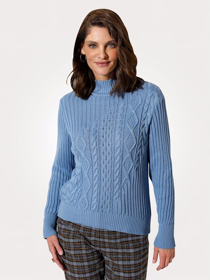 MONA Pullover mit querverlaufendem Strukturstrick, Hellblau