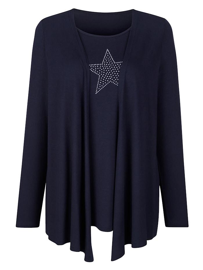 MIAMODA T-shirt 2 en 1 à motif d'étoiles en rivets, Marine