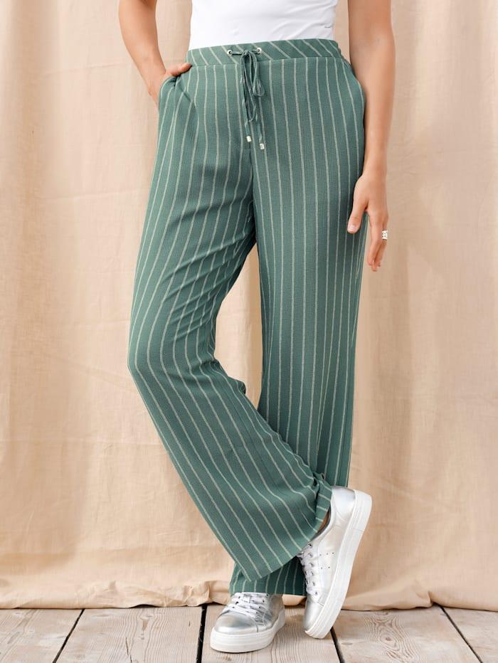 MIAMODA Kalhoty s pohodlnou pasovkou bez zapínání, Zelená/Béžová