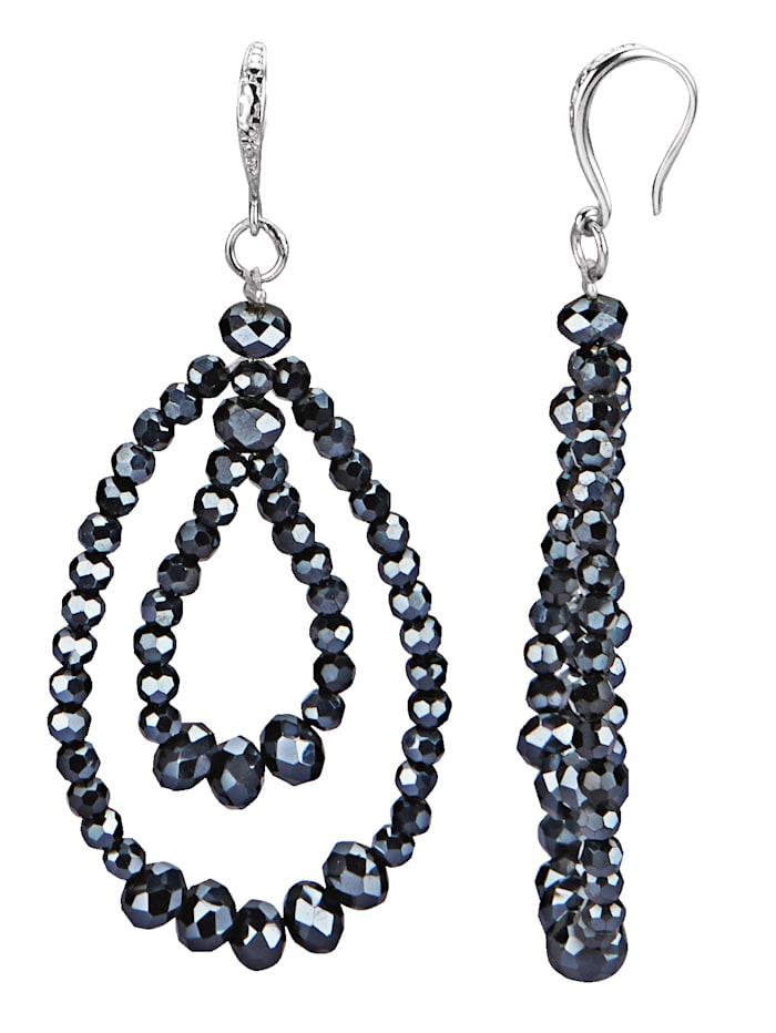 Boucles d'oreilles avec perles de verre noires