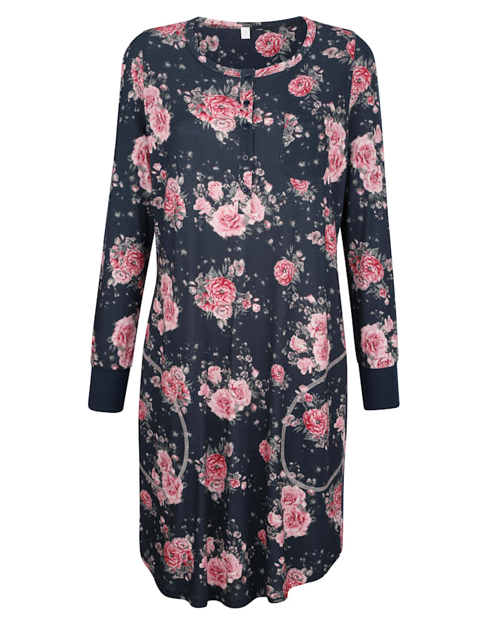 Blue Moon Chemise de nuit à poches prises dans les coutures côtés, Marine/Vieux rose/Olive