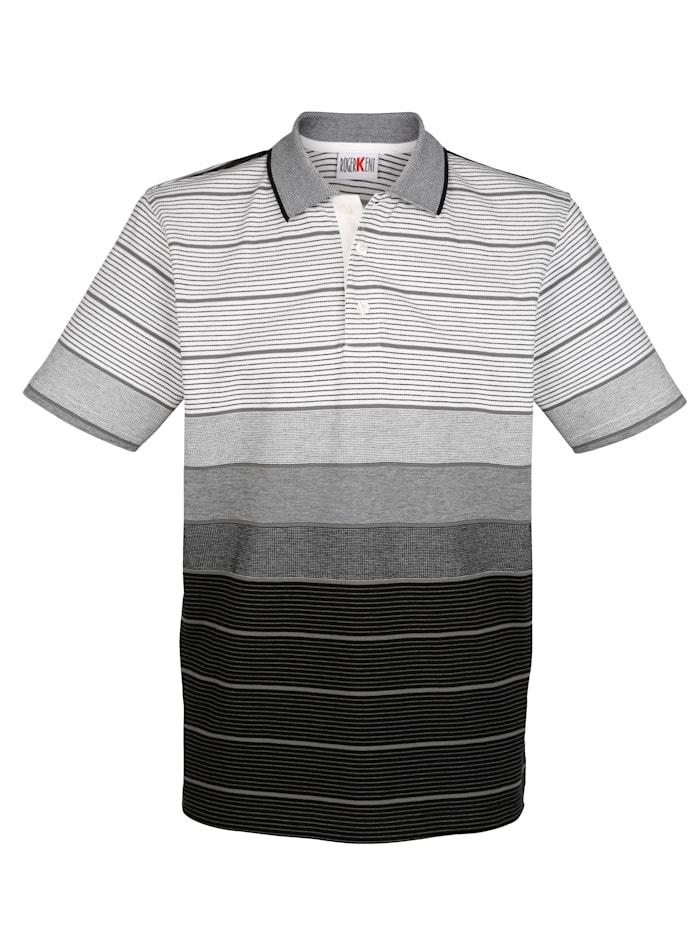 Roger Kent Poloshirt in Piqué-Qualität, Weiß/Grau/Schwarz