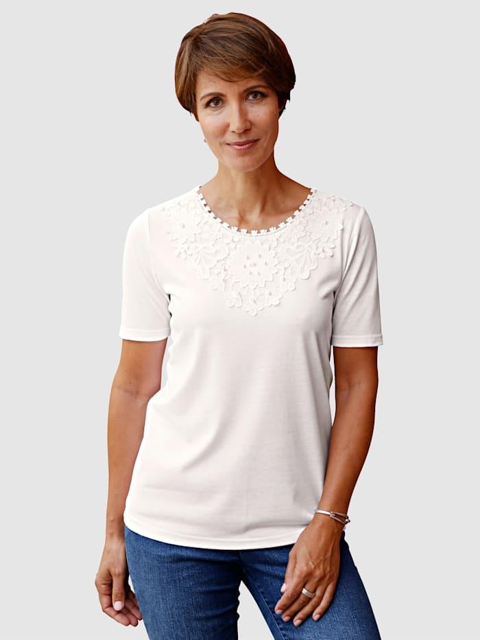 Paola Shirt mit dekorativer Spitze am Ausschnitt, Weiß