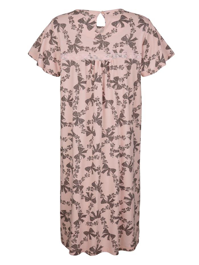Nachthemd mit romantischer Satinschleife und Spitze