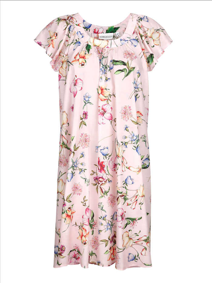 MONA Nachthemd mit hübschem Blumendruck, Hellrosa/Vanille/Pfirsich
