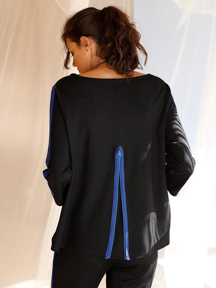 AMY VERMONT Sweatshirt mit Kellerfalte, Schwarz/Royalblau