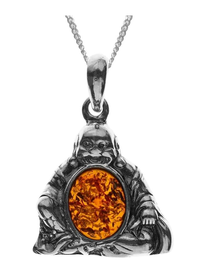 OSTSEE-SCHMUCK Kette mit Anhänger - Buddha - Silber 925/000 -, silber