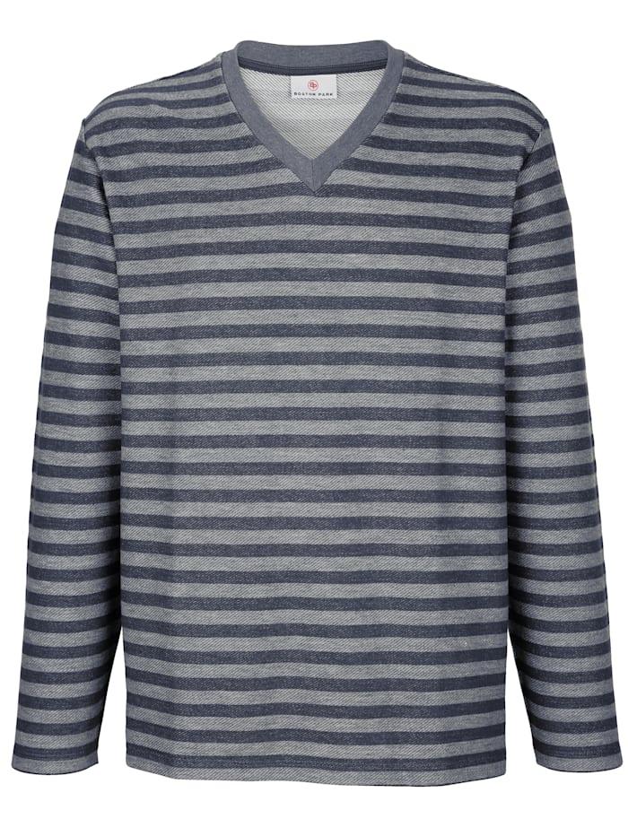 Boston Park Sweatshirt met V-hals, Blauw/Grijs