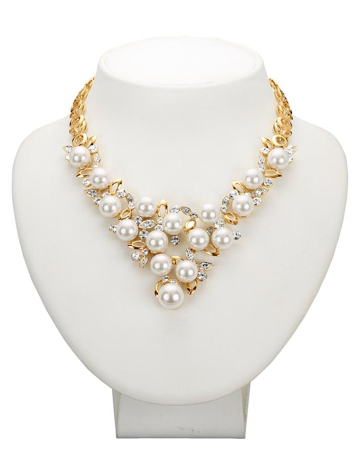 Golden Style Collier mit Kristallen und Glasperlen, Weiß