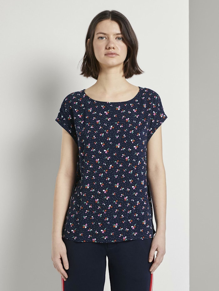 Tom Tailor Denim Gemustertes T-Shirt mit Cut-Out, navy flower print