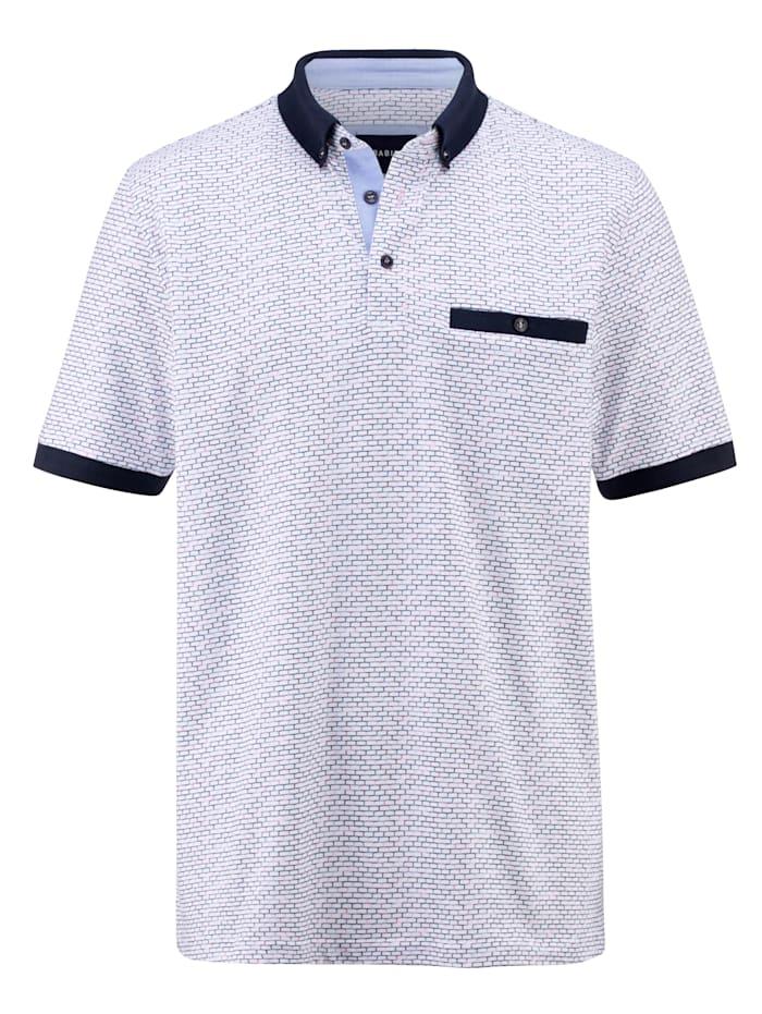 BABISTA Poloshirt mit grafischem Druckdessin rundum, Weiß/Marineblau