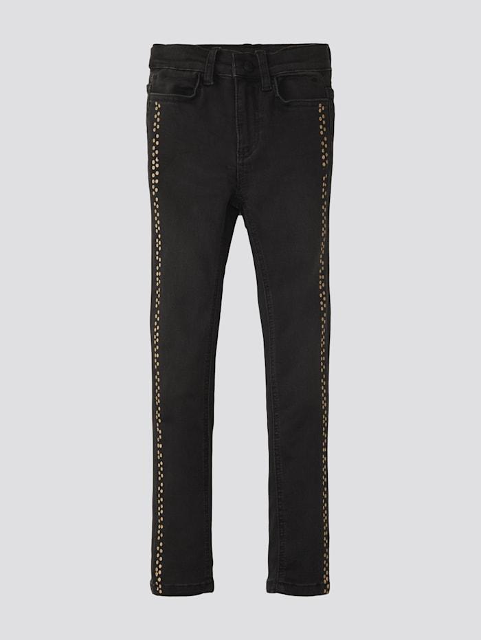 Tom Tailor Jeans mit gepunkteter Leiste, black denim|black